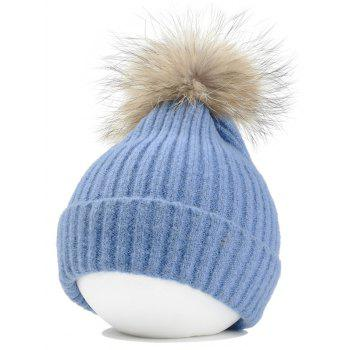Fuzzy Ball Decorated Flanging Crochet Knitted Beanie - LIGHT BLUE LIGHT BLUE