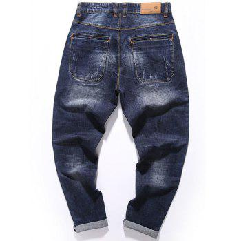 Zipper Fly Whisker Design Tapered Fit Jeans - DEEP BLUE DEEP BLUE