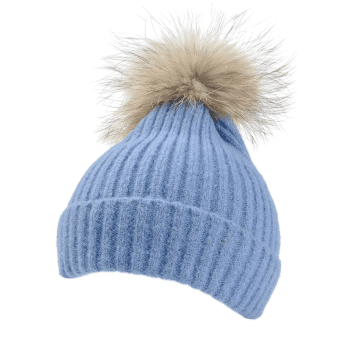 Fuzzy Ball Decorated Flanging Crochet Knitted Beanie - LIGHT BLUE