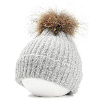 Fuzzy Ball Decorated Flanging Crochet Knitted Beanie - LIGHT GRAY LIGHT GRAY