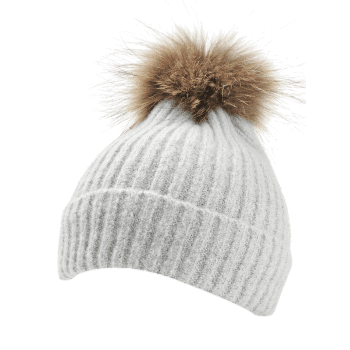 Fuzzy Ball Decorated Flanging Crochet Knitted Beanie - LIGHT GRAY