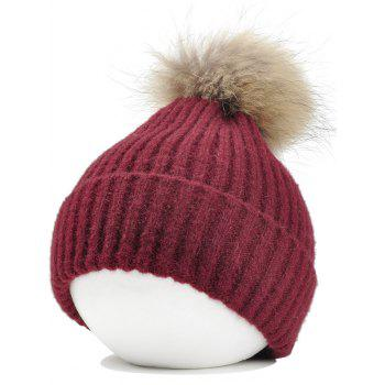Fuzzy Ball Decorated Flanging Crochet Knitted Beanie - WINE RED WINE RED
