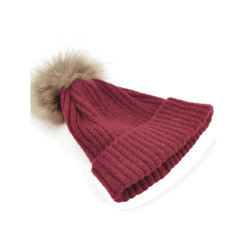 Fuzzy Ball Decorated Flanging Crochet Knitted Beanie - WINE RED