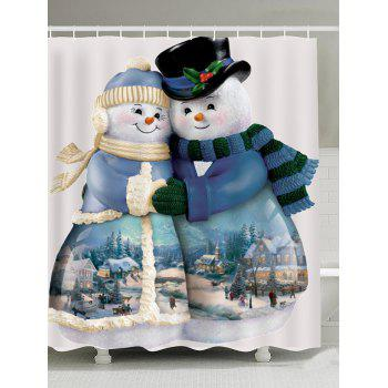 Snowman Couples Pattern Waterproof Shower Curtain - COLORFUL COLORFUL