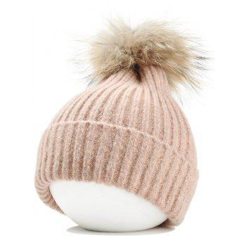 Fuzzy Ball Decorated Flanging Crochet Knitted Beanie - PINK PINK
