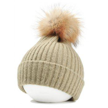 Fuzzy Ball Decorated Flanging Crochet Knitted Beanie - KHAKI KHAKI