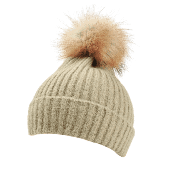 Fuzzy Ball Decorated Flanging Crochet Knitted Beanie -  KHAKI