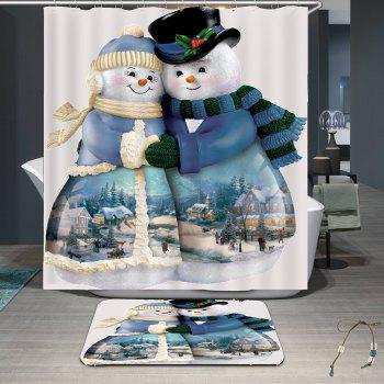 Snowman Couples Pattern Waterproof Shower Curtain - COLORFUL W71 INCH * L79 INCH