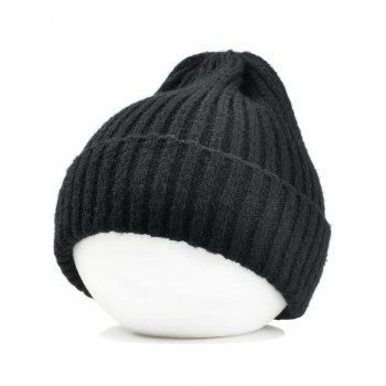 Flanging Embellished Crochet Knitted Lightweight Beanie - BLACK BLACK