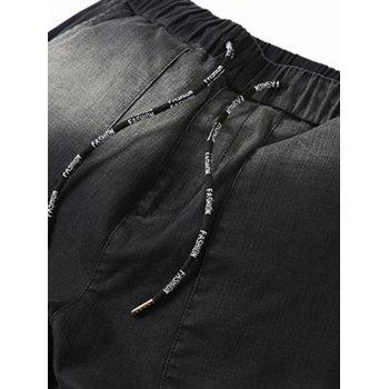 Drawstring Waist Graphic Flap Pocket Jogger Jeans - BLACK GREY BLACK GREY