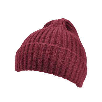 Flanging Embellished Crochet Knitted Lightweight Beanie - WINE RED