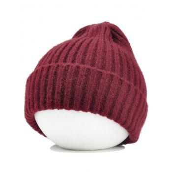 Flanging Embellished Crochet Knitted Lightweight Beanie - WINE RED WINE RED