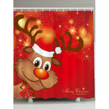 Waterproof Christmas Elk Pattern Shower Curtain - COLORFUL COLORFUL