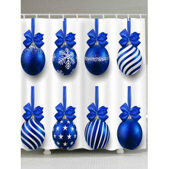 Christmas Blue Balls Pattern Waterproof Shower Curtain - BLUE BLUE