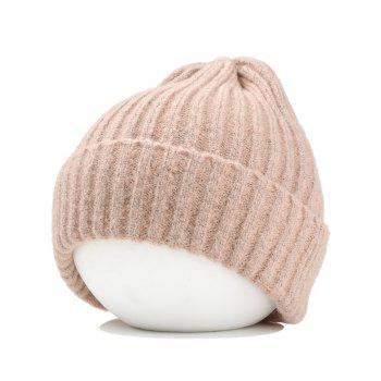 Flanging Embellished Crochet Knitted Lightweight Beanie - PINK PINK