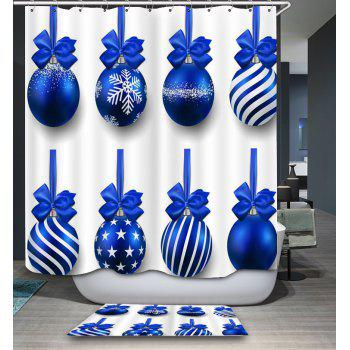 Christmas Blue Balls Pattern Waterproof Shower Curtain - BLUE W71 INCH * L71 INCH