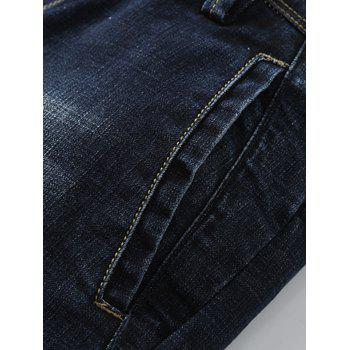 Casual Zip Fly Whisker Design Tapered Jeans - DEEP BLUE 4XL