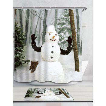 Snow Forest Snowman Pattern Waterproof Shower Curtain - WHITE W59 INCH * L71 INCH