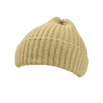 Flanging Embellished Crochet Knitted Lightweight Beanie - YELLOW