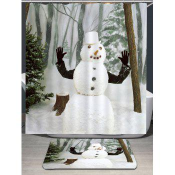 Snow Forest Snowman Pattern Waterproof Shower Curtain - WHITE W71 INCH * L79 INCH