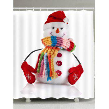 Red Hat Snowman Pattern Waterproof Shower Curtain - COLORFUL COLORFUL