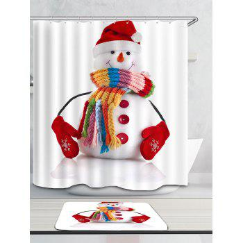Red Hat Snowman Pattern Waterproof Shower Curtain - COLORFUL W59 INCH * L71 INCH