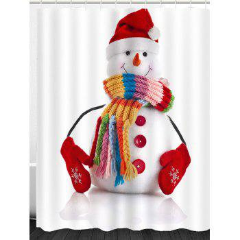 Red Hat Snowman Pattern Waterproof Shower Curtain - COLORFUL W71 INCH * L79 INCH