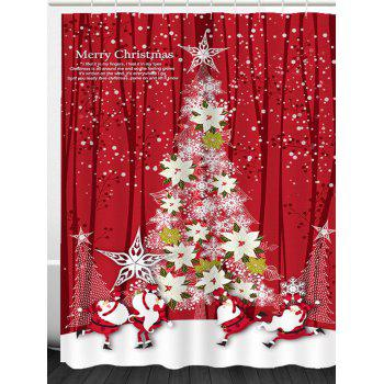 Flower Christmas Tree Printed Waterproof Shower Curtain - RED RED