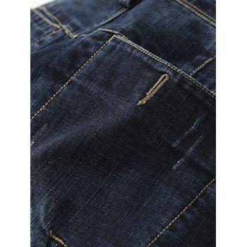 Casual Zip Fly Whisker Design Tapered Jeans - DEEP BLUE DEEP BLUE