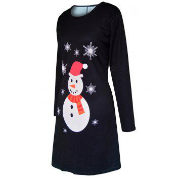 Christmas Snowman Snowflake Printed Tunic Dress - BLACK BLACK