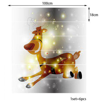 Autocollants Stairway Fantaisie Starlight Christmas Elk - coloré 100*18CM*6PCS