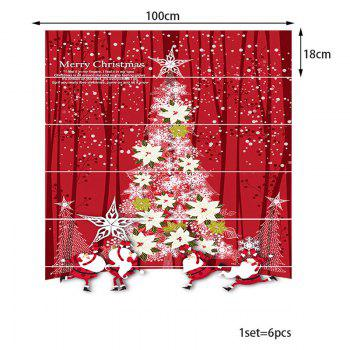 Christmas Tree Shape Floral Pattern Stair Stickers - COLORFUL 100*18CM*6PCS