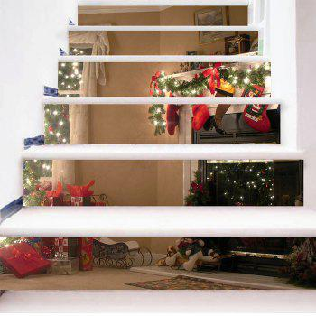 Christmas House Pattern Stair Stickers - COLORFUL 100*18CM*6PCS