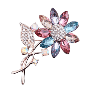 Faux cristal strass tournesol feuille broche - multicolorcolore