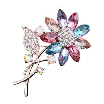Faux Crystal Rhinestone Sunflower Leaf Brooch - COLORMIX COLORMIX