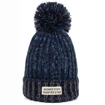 Outdoor Colormix Letter Label Decorated Flanging Knitted Beanie - CADETBLUE CADETBLUE
