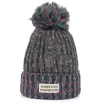 Outdoor Colormix Letter Label Decorated Flanging Knitted Beanie - DARK GRAY DARK GRAY