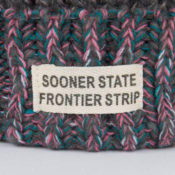 Outdoor Colormix Letter Label Decorated Flanging Knitted Beanie - DARK GRAY