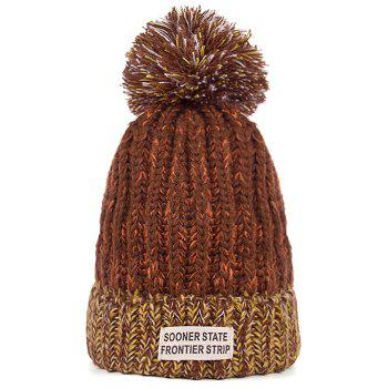 Outdoor Colormix Letter Label Decorated Flanging Knitted Beanie - BROWN BROWN