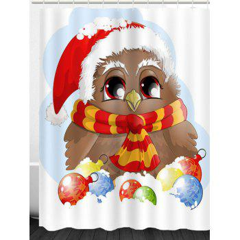 Christmas Bird Pattern Waterproof Shower Curtain - COLORFUL W71 INCH * L71 INCH