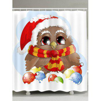 Christmas Bird Pattern Waterproof Shower Curtain - COLORFUL COLORFUL