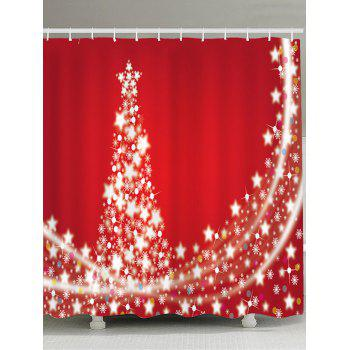 Christmas Stars Tree Pattern Waterproof Shower Curtain - RED RED