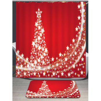 Christmas Stars Tree Pattern Waterproof Shower Curtain - RED W71 INCH * L79 INCH