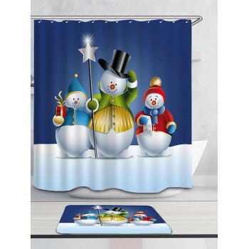 Three Snowmen Pattern Waterproof Shower Curtain - COLORFUL COLORFUL