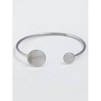 Simple Alloy Round Cuff Bracelet -  SILVER