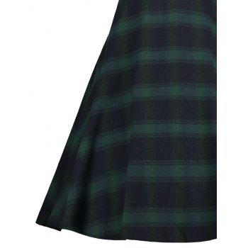 Faux Fur Panel Vintage Plaid Dress - GREEN XL