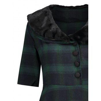 Faux Fur Panel Vintage Plaid Dress - GREEN L