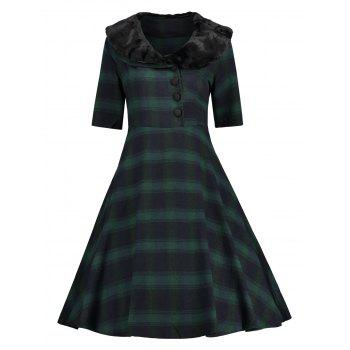 Faux Fur Panel Vintage Plaid Dress - GREEN GREEN