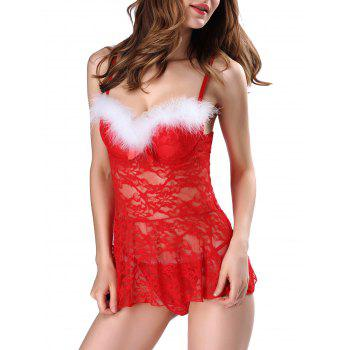 Feather Detail Lace Padded Santa Lingerie Dress - RED L