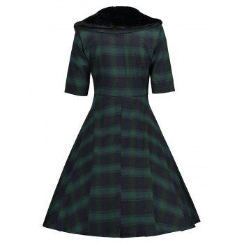 Faux Fur Panel Vintage Plaid Dress - GREEN S